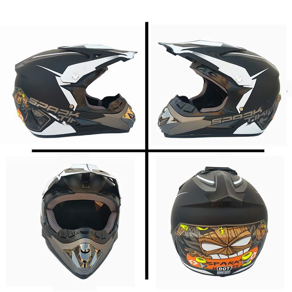 Erwachsener Open Face Motocross Helm Ski Motocross Off-Road Quad Enduro Motorrad Integralhelm mit Brille Maske Schutzbrille,M56~57CM QYTK/® Serie RT-323 Motorradhelm herren