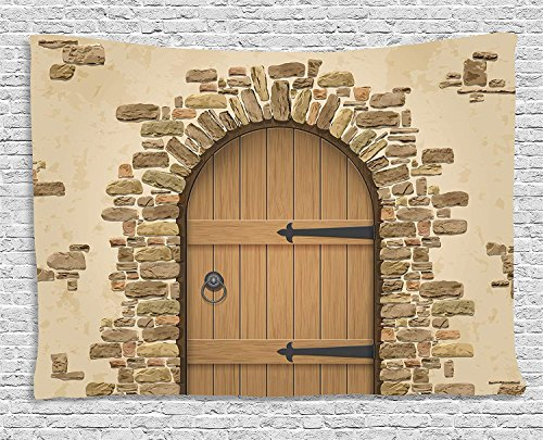 ajnxcid Rustic Tapestry, Wine Cellar Entrance Stone Arch Ancient Architecture European Building, Wall Hanging for Bedroom Living Room Dorm, 80 W X 60 L Inches, Sand Brown Pale Brown