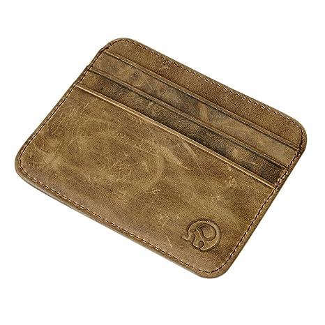 Etbotu - Mini cartera de piel, tamaño pequeño, con tarjetero, monedero, certificados