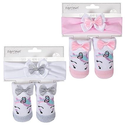 Juego de diadema y calcetines de unicornio para bebé supersuave (0 – 12 meses)