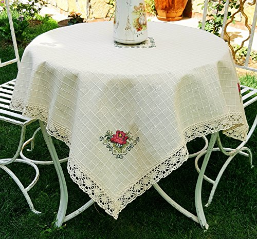 Secret Sea Collection Handmade Cotton Red Rose Embroidery Tablecloth (42