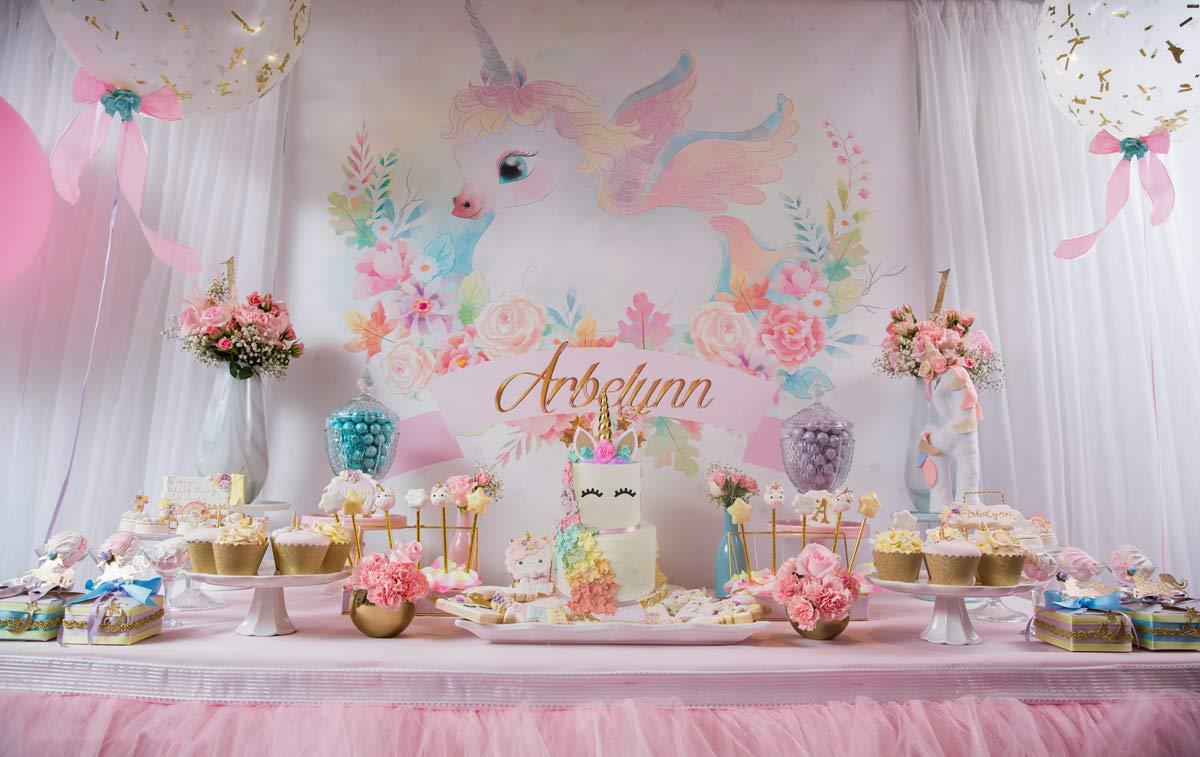 Killow Unicorno Decorazioni Torte Decorazioni per Feste di Compleanno Baby Shower Unicorno Toppers Torta Cake Topper+ Compleanno Accessori Cerchietto+48pcs Cupcake Topper Double Sided
