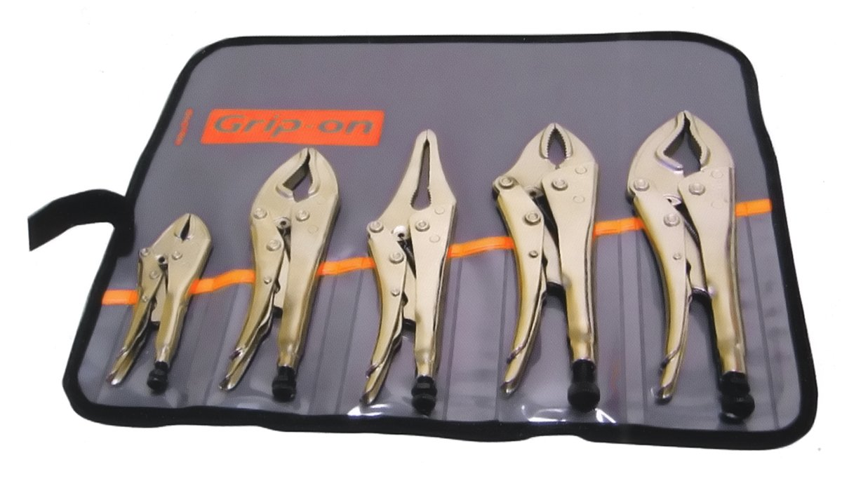 Grip-On GK500 5-Piece General Purpose Locking Pliers Kit in Roll-Up Pouch by Grip-On