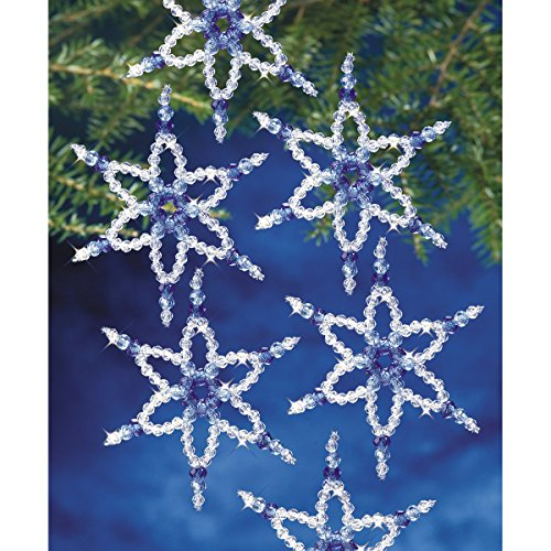 Beadery Holiday Beaded Ornament Kit, 5.25-Inch, Sapphire Star, Makes 6 Ornaments