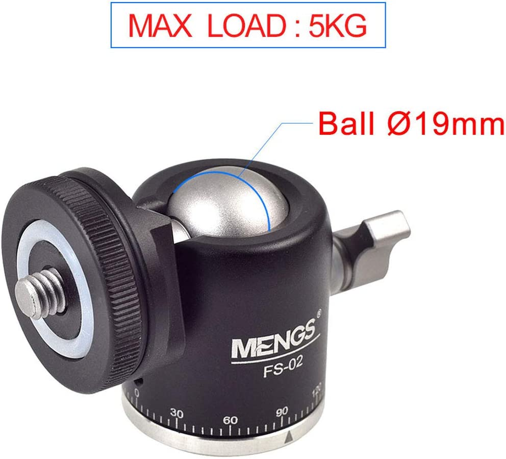 Tripod Light Stand Monopod MENGS FS-02 1//4 Mini Panoramic Ball Head Mount with Hot//Cold Shoe Adapter for Camera
