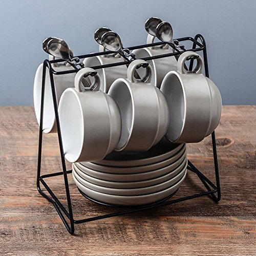 Yosou Home Americano Coffee Bar Espresso Mugs and Saucers Set, 6-Ounce (Set of 6,12 Pieces,Gray)