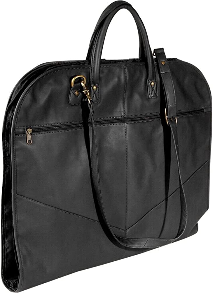 Milano Luxury Black Leather Suit Carrier Leather Garment Bag Travel Bag NEW