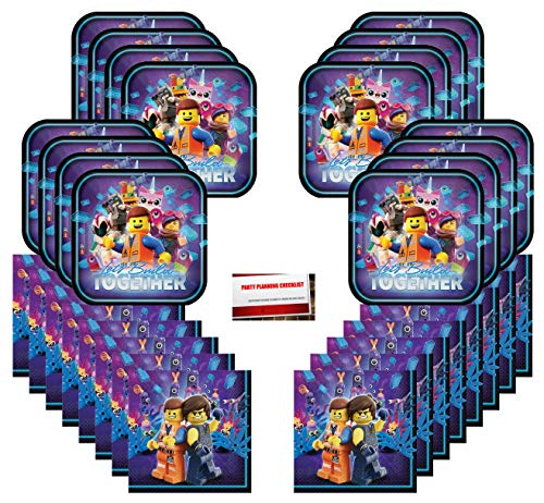 Lets Build Together Lego Movie Part 2 - Birthday Supplies Bundle Party Pack for 16 Guests (Plus Party Planning Checklist by Mikes Super -