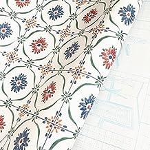BESTERY Vintage Self adhesive Flower Pattern Shelf Liners Gloss Vinyl Film Contact Paper Kitchen Backsplash wallpaper 24''x118'' Roll (White)