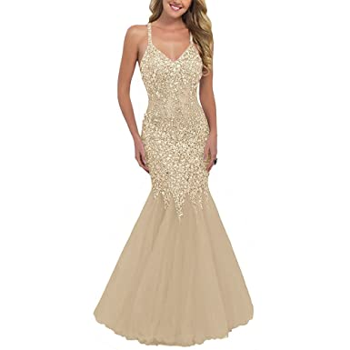 TANGFUTI Womens Crystals Spaghetti Straps Mermaid Prom Dress Party Gown 2017 at Amazon Womens Clothing store: