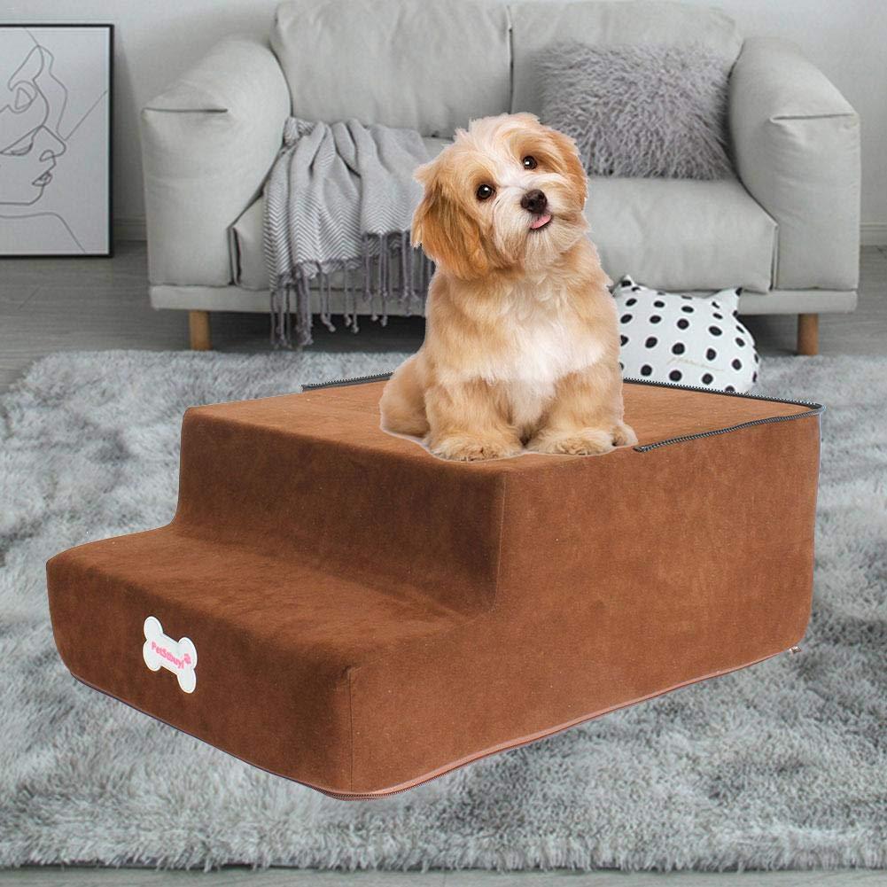 HUVE Grandi Scale per Animali Domestici Portatili A 4 Gradini Scale Pieghevoli in Schiuma per Animali Scale Lavabili Rimovibili Comfort per Scale Scale per Cani Arrampicata per Gatti