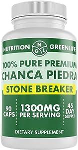 CHANCA Piedra Pure Stone Breaker 1300mg - Kidney, RENAL, Gallbladder Support Phyllanthus niruri - All Natural Herbal Detox Urinary Tract, Removes Impurities - 90 Capsules