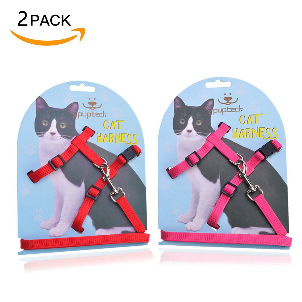 PUPTECK Adjustable Cat Harness Nylon Strap Collar with Leash Red & Pink