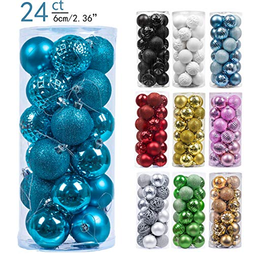 Valery Madelyn 24ct 60mm Essential Blue Basic Ball Shatterproof Christmas Ball Ornaments Decoration,Themed with Tree Skirt(Not Included) (Blue Ball Ornaments)