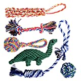 Dog Toy Set for Aggressive Chewers - Puppy Teething Toys - Rope Dog Toy - Small and Medium Dog Chew Toys - Chew Toys for Dogs - Dog Toy Pack - Dinosaur Dog Toy - Doggie Toys made of Hardened Materials