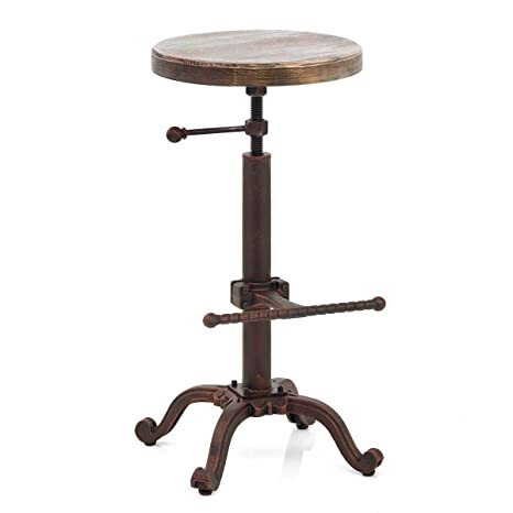 Surprising Topower Industrial Retro Vintage Farm Wooden Tractor Stool Kitchen Swivel Height Adjustable Bar Stool Copper Caraccident5 Cool Chair Designs And Ideas Caraccident5Info