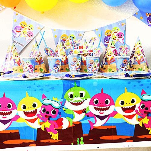 Shark Party Supplies Set,Shark Baby Birthday Decoration,104 Pieces Shark Party Decoration,Ocean Party Decoration,Shark Party Tableware Cake Topper Gift Bag,Children Carnival Party Supplies Decoration