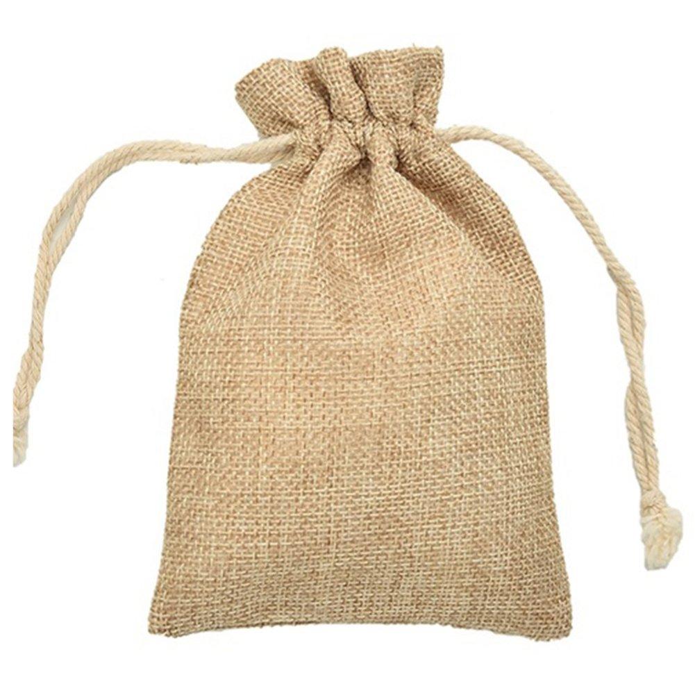 5pcs de stockage Portable Sac à main, Hinmay min simili en toile de jute Sacs en toile de jute Mini sac de rangement étui pochette pour chaussures, ceintures, gants, accessoires Sac à cordon rustique Sac cadeau de mariage 7*9cm #1