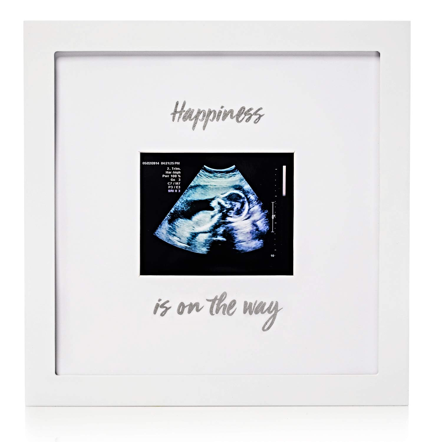 "1Dino Pregnancy Announcement Baby Sonogram Keepsake Picture Frame – Large 10""x 10"" White Natural Wood Photo Frame – Gift Idea for Expecting Parents, Baby Shower Gift, Wall or Desk Nursery Decor"