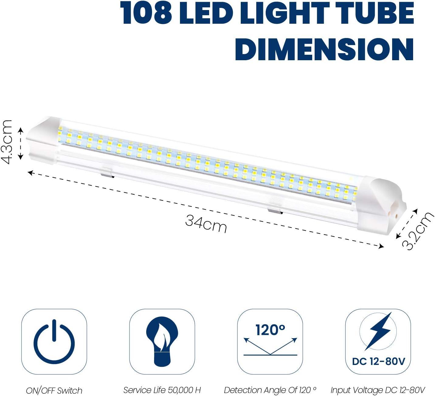 Interior Universal L/ámpara 900LM L/ámpara De Techo 34cm Blanco Fr/ío Downlight Con Encendido//apagado Auto Exterior Luz De Emergencia 108 LED Luz De Iluminaci/ón 9W Barra De Luz 2 Pack