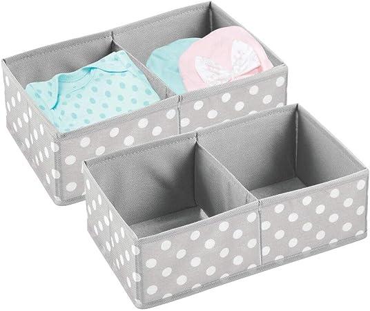 mDesign Juego de 2 Cajas para almacenar Ropa, Cosas para niños y más – Organizadores de cajones Infantiles de Tela – Cestas organizadoras para armarios Infantiles con 2 Compartimentos – Gris y Blanco: Amazon.es: Hogar