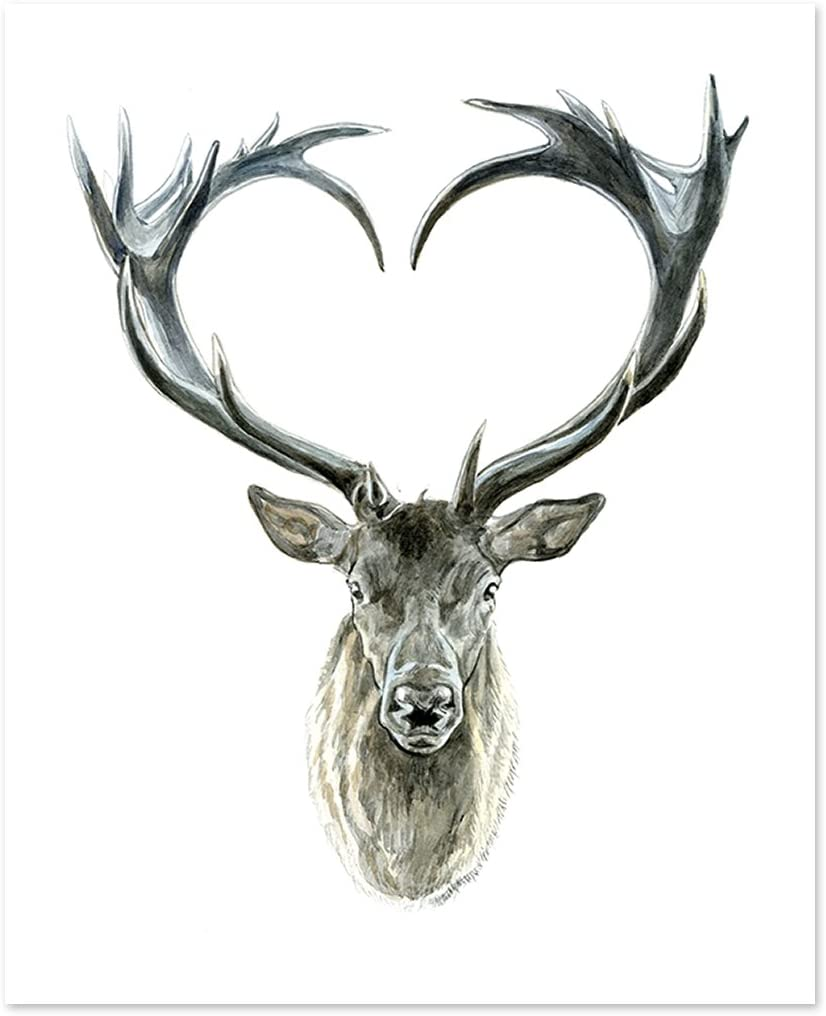 Atozstudio A14 Deer Poster Print Wild Tribal Boho Forrest Woodland Wall Art Decor Picture Artwork Cute Baby Animal Watercolor Painting Portrait Face Love Men Women 8x10 Posters Prints