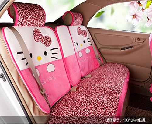 1 set classical cartoon peach leopard fashion universal car front and back seat covers car waist pillows neck pillows hand brake cover by weiwei26 (Image #2)