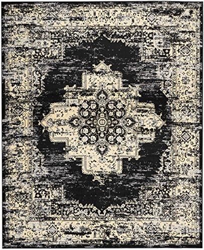 Nourison Nourison Black Rug (Nourison  Grafix Traditional Distressed Black Area Rug 7'10