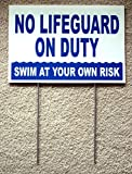 1 Pc Radiant Unique No Lifeguard On Duty Signs Plastic Coroplast Outdoor Board Risk Message Swimming Sign Stand Decal Swim Warning Post Pond Pools Decor At Your Own Diving Danger Size 8''x12'' w/ Stake