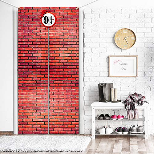Party Station Halloween Costumes (Brick Wall Backdrop 9 and 3/4 Cross Station, Door Curtains for Wizard Halloween Decoration Wizard Costume Party Magic School Brick Wall Background)