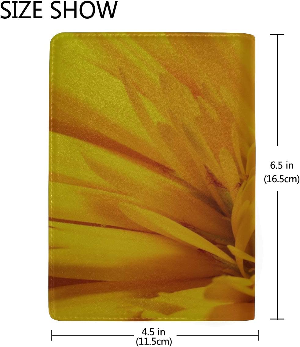 Maxm Flower Yellow Bud Petals Leather Passport Holder Cover Case Travel One Pocket