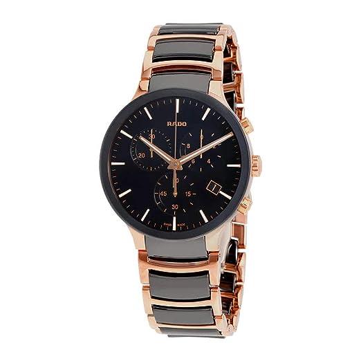 Reloj Rado Centrix para hombre con cronógrafo, en cerámica negra y acero dorado R30187172.: Amazon.es: Relojes