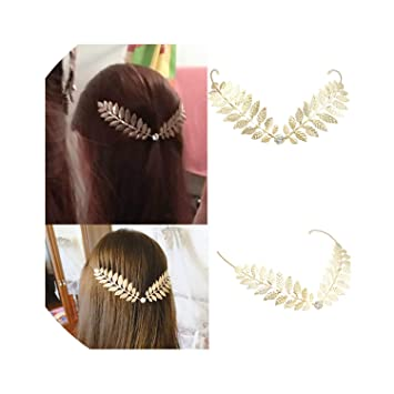 Narrow Leaf Metal Greek Roman Headband Gold or Silver Girls Hair Accessory New