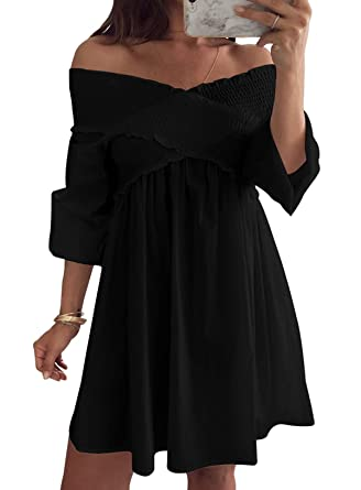 be7fdc4f02d Women's Off The Shoulder Puff Sleeve V Neck Casual Solid Strapless Mini  Dress at Amazon Women's Clothing store: