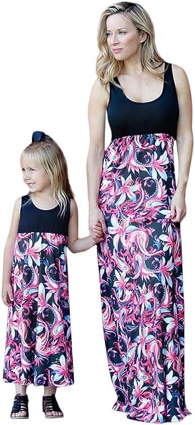 DAY8 Abiti Mamma e Figlia Abbigliamento Elegante Vestiti Mamma e Figlia Uguali Estivi Floreali Abiti Famiglia Coordinati Vestito Mamma Moda Bambina Ragazza Casual Patchwork Vestito