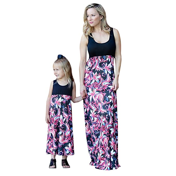 0b0748760671 Family Clothes Mommy&Me Floral Print Sundress Vest Women Baby Girl Dress  Matching Dresses for Mother Daughter