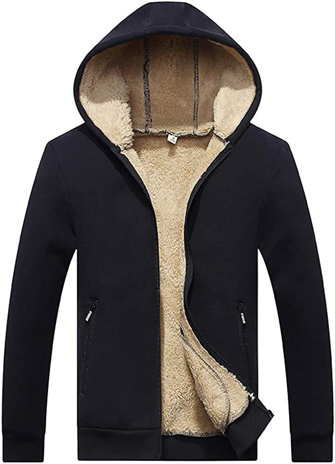 Allywit Mens Winter Thicken Coat Quilted Puffer Jacket with Fur Hood