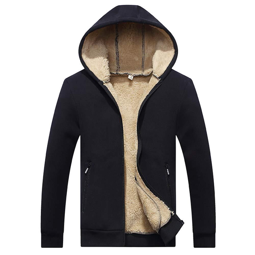 Sherostore ♡ Men's Casual Winter Warm Lined Zip Up Hooded Sweatshirt Jacket Coat Long Sleeve Outwear Black