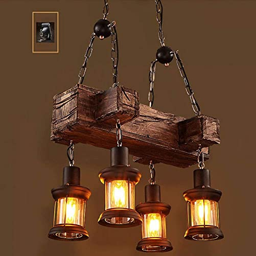 Industrial Vintage Wooden Hanging Pendant Light Retro Loft Lantern Chandelier 4 Lights Suspension Lighting Fixture for Coffee Shop Restaurant 1