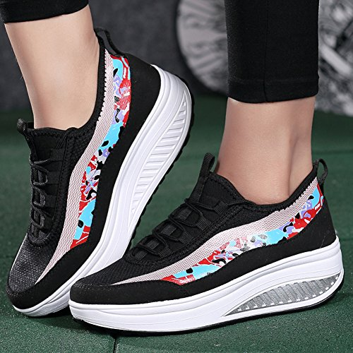 Ausom Womens Patchwork Shape Ups Swing Shoes Slimming Platform Wedges Toning Walking Fitness Sneaker Black PxUXDrHasC