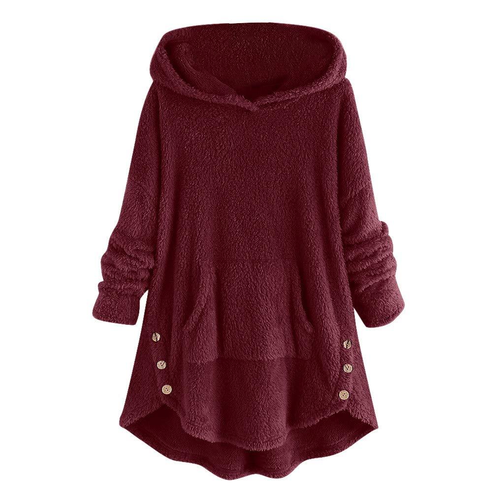 Womens Blouses Sale Autumn WinterTops Women Fleece Asymmetrical Button Hem Oversize Hoodie Top Sweater Blouse Warm Clothing Gift UK Size S-XXXXXL