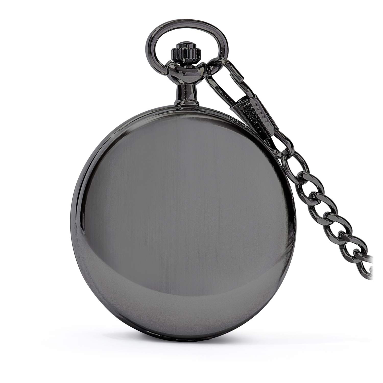 Speidel Classic Brushed Satin Black Engravable Pocket Watch with 14'' Chain, Black Dial, Seconds Hand, Day and Date Sub-Dials by Speidel (Image #2)