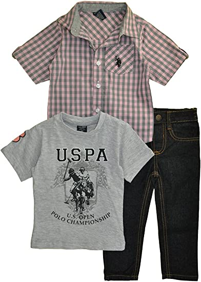 Little Boys Sleeve Sport Shirt Childrens Apparel U.S US Polo Assn