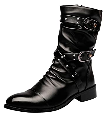 c303f6f3b1b SANTIMON Men's Boots Retro Studded Rivet Buckle Zipper Western Motorcycle  Combat Boot Heavy Metal Punk Rock Black