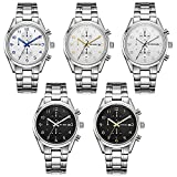 BUREI Mens Casual Chronograph Watches with Arabic Numeral Sub-Dials Mineral Lens Stainless Steel Bracelet