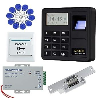 HFeng Sistema de control de acceso de la puerta RFID Cerradura eléctrica Strike, Controlador biométrico