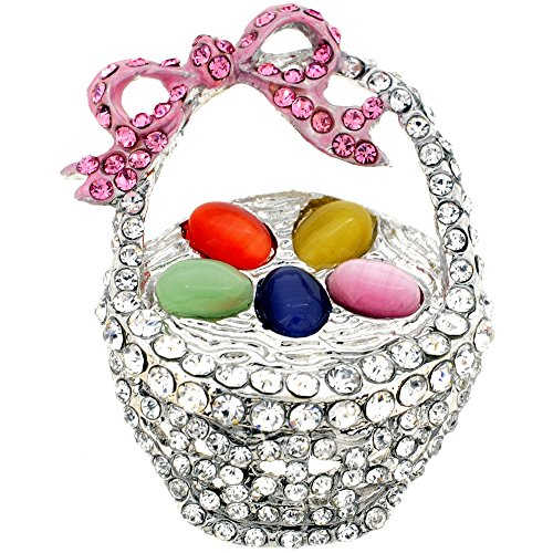 Multicolor Easter Basket Crystal Brooch (Crystal Easter Pin)