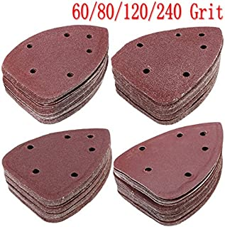 Kamas 40pcs 140x100mm Triangle Sandpaper Mouse Sanding Sheets Sander Pads 60/80/120/240 Grit - (Size: 80#)