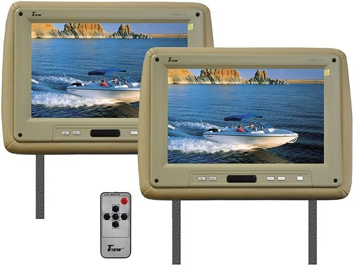 T-View Tview T110pltan 11.2 Tan Car Headrest Widescreen Lcd Monitors W// Remotes by T-View