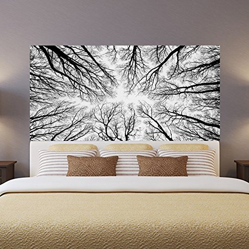Mural Art Wall Modern Decoration Poster Wallpaper Black White Forest Decor Bedside Stickers HD Photo Self-Adhesive Removable Vinyl 3D (Landscape 2 Door Cabinet)